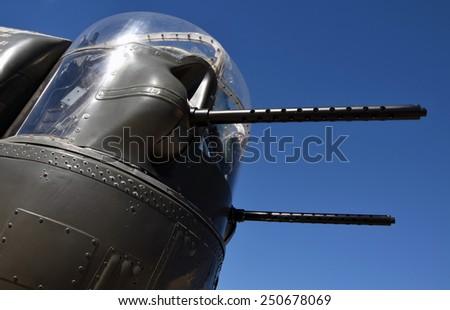 World War II era bomber rear gun turret - stock photo
