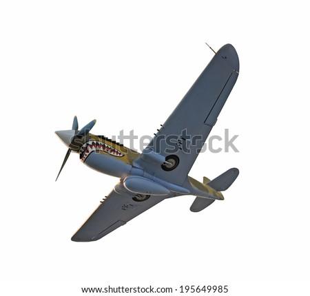 World War II era fighter plane isolated on white - stock photo