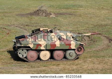 World War II era German tank in a field - stock photo
