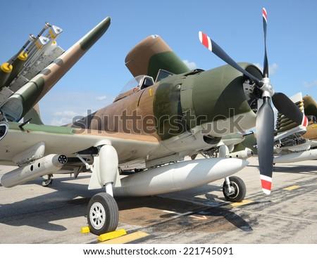 World War II era navy fighter - stock photo