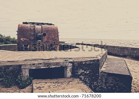 World War II fortifications - stock photo