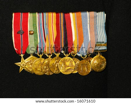 World War II medals on a uniform - stock photo