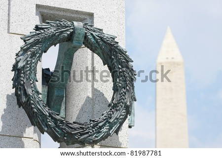 World War II Memorial and Washington Monument in Washington, DC - stock photo