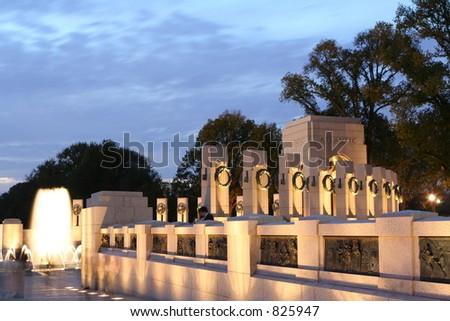 World War II Memorial at twilight - stock photo