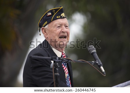 World War II Memorial Day Event, Los Angeles National Cemetery, California, USA, 05.24.2014 - stock photo