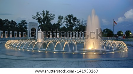 World War II Memorial Fountain at night. - stock photo