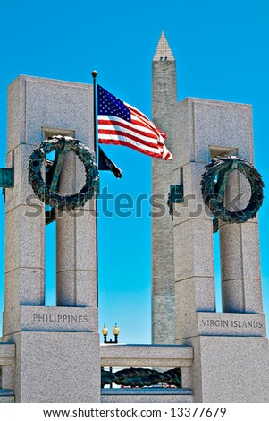 World War II memorial in Washington DC.  Washington monument visible in background. - stock photo