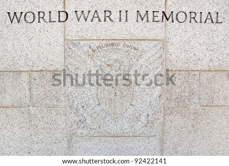 World War II Memorial inscription - stock photo