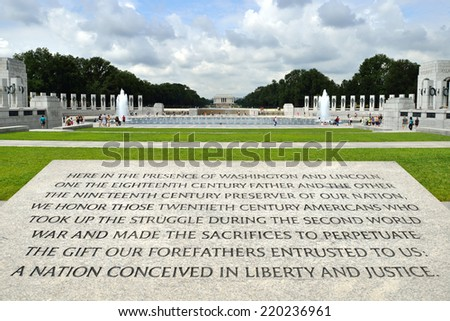 World War II Memorial inscription, National Mall, Washington DC - stock photo