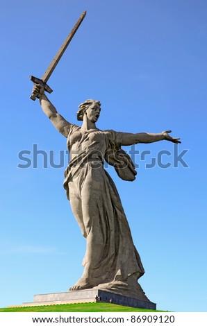 "World War II memorial ""Motherland Calls"", Volgograd, Russia. - stock photo"