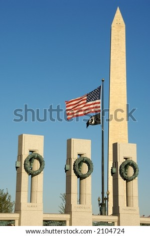 World War II Memorial Washington, DC and Washington Monument - stock photo