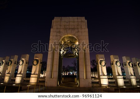 World War II Monument at night in Washington DC United States - stock photo