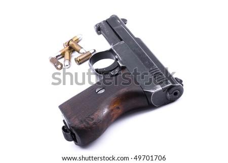 World War II officer pistol and bullets - stock photo