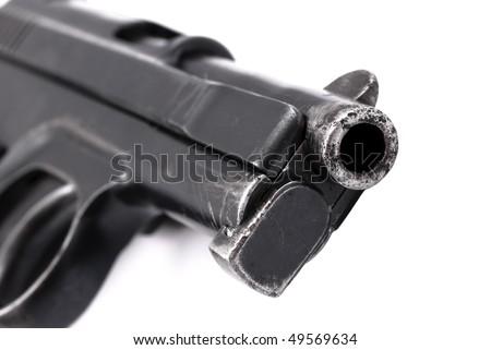 World War II officer pistol detail isolated on white - stock photo