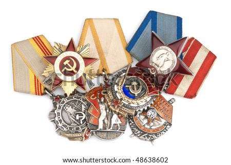 World War II Russian military medals isolated over white - stock photo