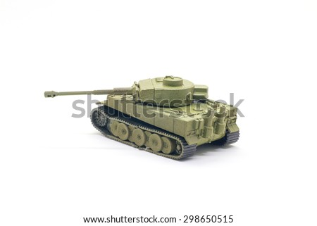 World war II tank model toy isolate on white background - stock photo
