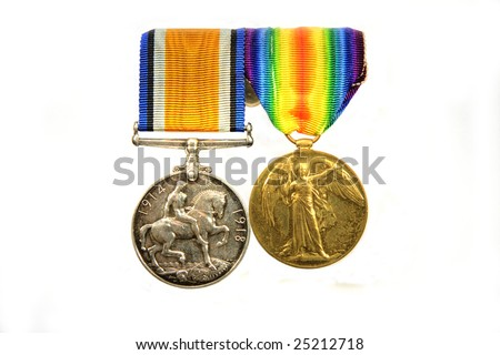 World War 1 medals, British War Medal and Victory Medal.  Together with the 1914 Star, they were known as Pip, Squeak, and Wilfred. Isolated on white. - stock photo