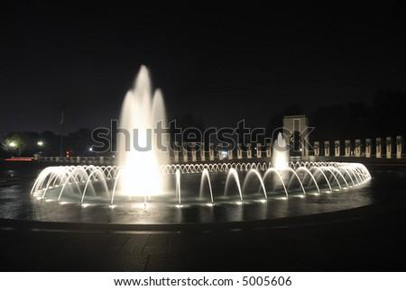 World War 11 Memorial at night - stock photo