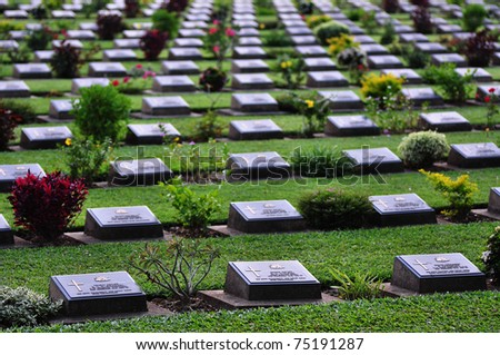 World War 2 Memorial Cemetery at Kanchanaburi, Thailand - stock photo