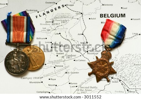 World War One Medals.  Victory Medal, the British and Canadian War medal and the 1914-15 Star Medal. - stock photo