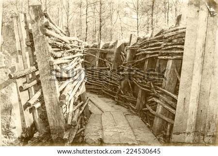 world war one trench belgium flanders - stock photo