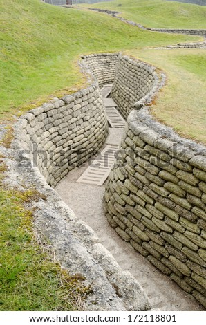 World War One trench on the Vimy Ridge preserving a short section of the Allied Front Line and the German Front Line. - stock photo