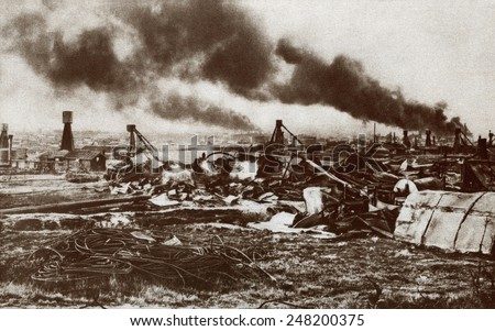 World War 1. Russian destruction of the oil fields at Boguslav in East Galicia. Ca. 1914-15.