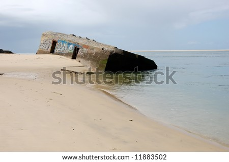 world war two: blockhouse bunker at the entrance of Arcachon lagoon (France) - stock photo