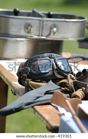 World War two RAF fighter pilot goggles. - stock photo