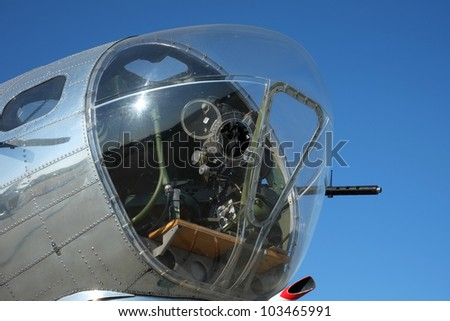 World War Two U. S. Air Force Boeing B-17G Flying Fortress: View of nose canopy and forward gun turret