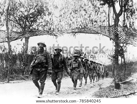 World War 1. U.S. Army infantry troops from an African American unit marching northwest of Verdun, France. Ca. 1918.