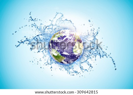 world water day concept ( elements of this image furnished by NASA ) - stock photo