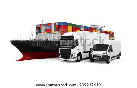 World Wide Cargo Transport Illustration - stock photo