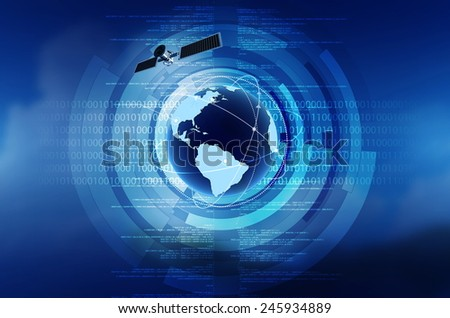 World wide internet connection concept with globe, satellite and blue blackground - stock photo