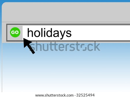 World Wide Web browser background with word holidays and cursor arrow. - stock photo