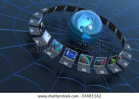 World Wide Web concept. Hi-res digitally generated image. - stock photo