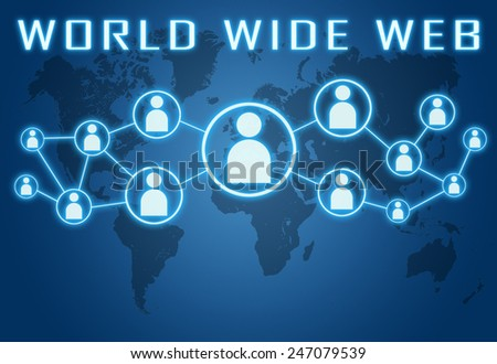 World Wide Web concept on blue background with world map and social icons. - stock photo