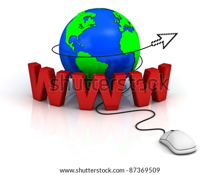 World wide web internet concept, Earth globe with computer mouse and arrow cursor isolated on white background - stock photo