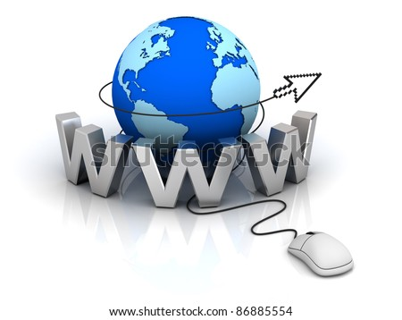 World wide web internet concept, Earth globe with computer mouse and cursor isolated on white background - stock photo