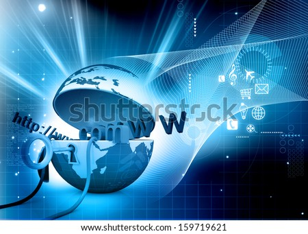 World wide web internet concept, opened Earth globe with computer mouse and www abstract   background - stock photo