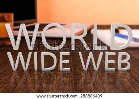 World Wide Web - letters on wooden desk with laptop computer and a notebook. 3d render illustration. - stock photo