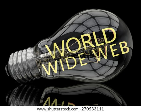 World Wide Web - lightbulb on black background with text in it. 3d render illustration. - stock photo