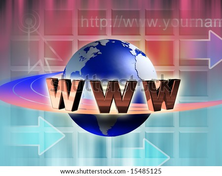 World wide web symbol rotating around an earth globe. Digital illustration. - stock photo