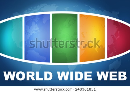 World Wide Web text illustration concept on blue background with colorful world map - stock photo