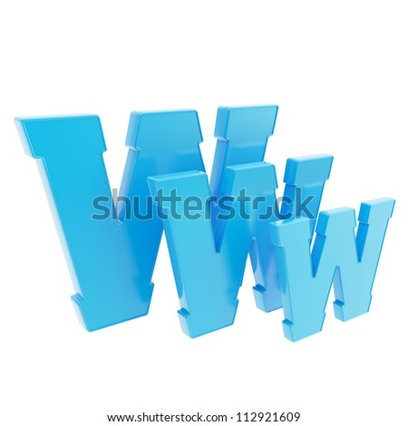 World wide web www glossy blue letter symbol isolated on white background - stock photo