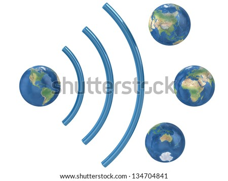 World wifi concept isolated on white background. Elements of this image furnished by NASA. - stock photo
