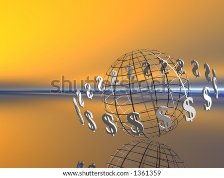 World with circulating dollars, financial concept, copy space. - stock photo
