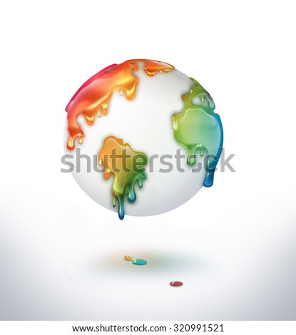 world with dripping colorful paint - stock photo