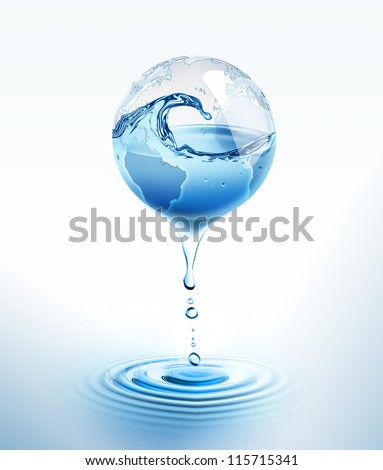 world with dripping water - stock photo