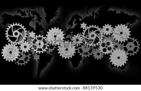 world with gear connections and foreign exchange - stock photo
